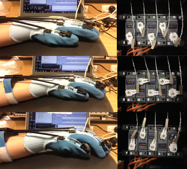 Relationship between servo rotation and glove movement